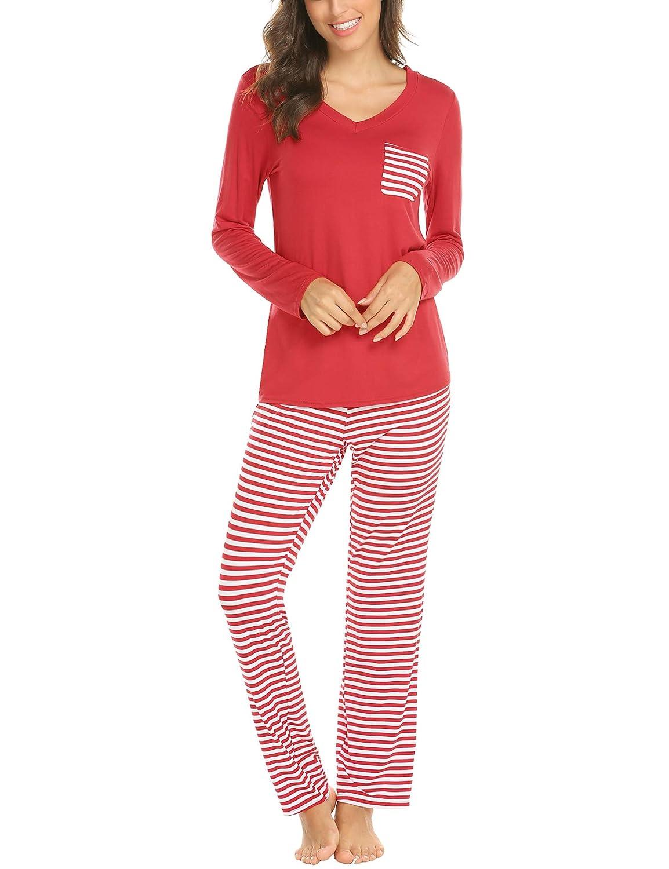 b654b7225c9ad ... MAXMODA Ensemble Pyjama Femme Coton T-Shirt Longues Pantalon 2PCS  AHK009332 ...