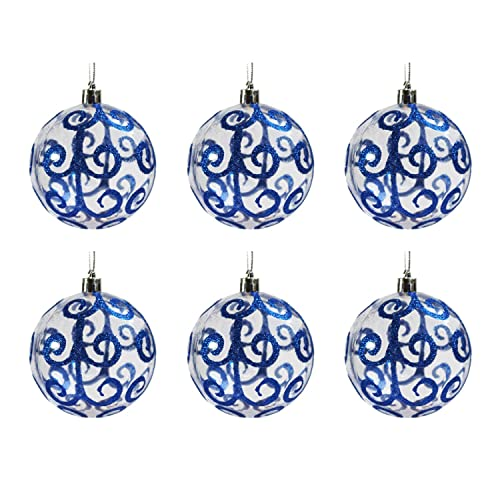 festive season blue swirl shatterproof christmas ball ornaments tree decorations set of 6