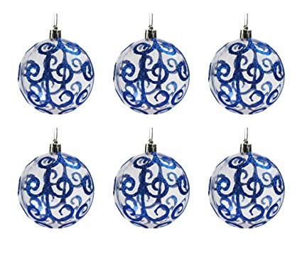 Festive Season Blue Swirl Shatterproof Christmas Ball Ornaments, Tree  Decorations (Set Of 6,