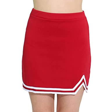 e3376cfbe8 Danzcue Womens Double V A-Line Cheer Uniform Skirt, Scarlet/White, X