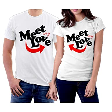 ab095dcc1b Matching Meet My Love Couple T-Shirts at Amazon Women's Clothing store: