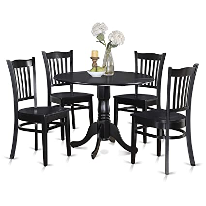 Delicieux Amazon.com: East West Furniture DLGR5 BLK W 5 Piece Kitchen Table Set, Black  Finish, Wood Seat: Kitchen U0026 Dining