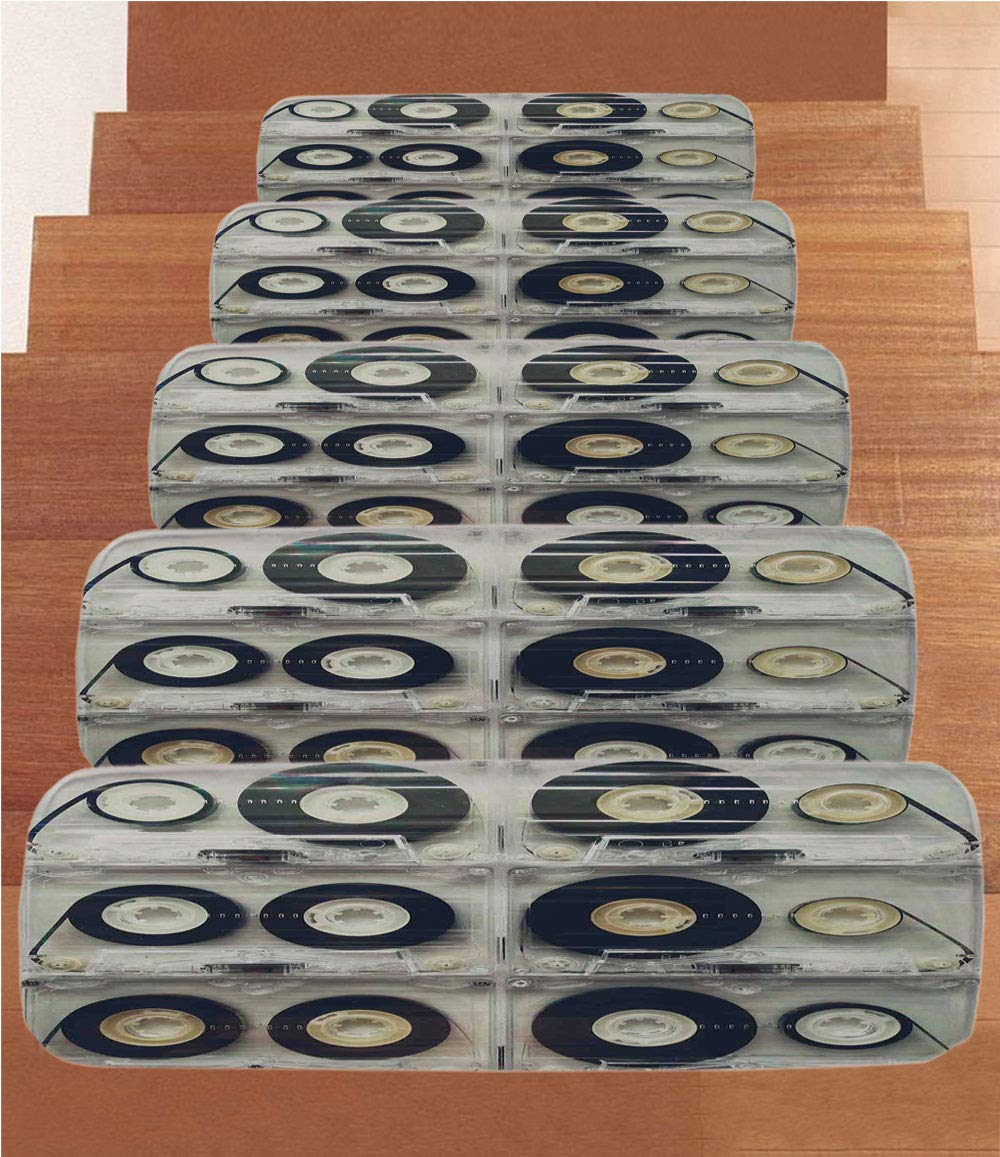 iPrint Non-Slip Carpets Stair Treads,90s,Picture of Six Audio Cassettes for Recorder Retro Style Vintage Old Time Popular Technology,Black,(Set of 5) 8.6''x27.5''