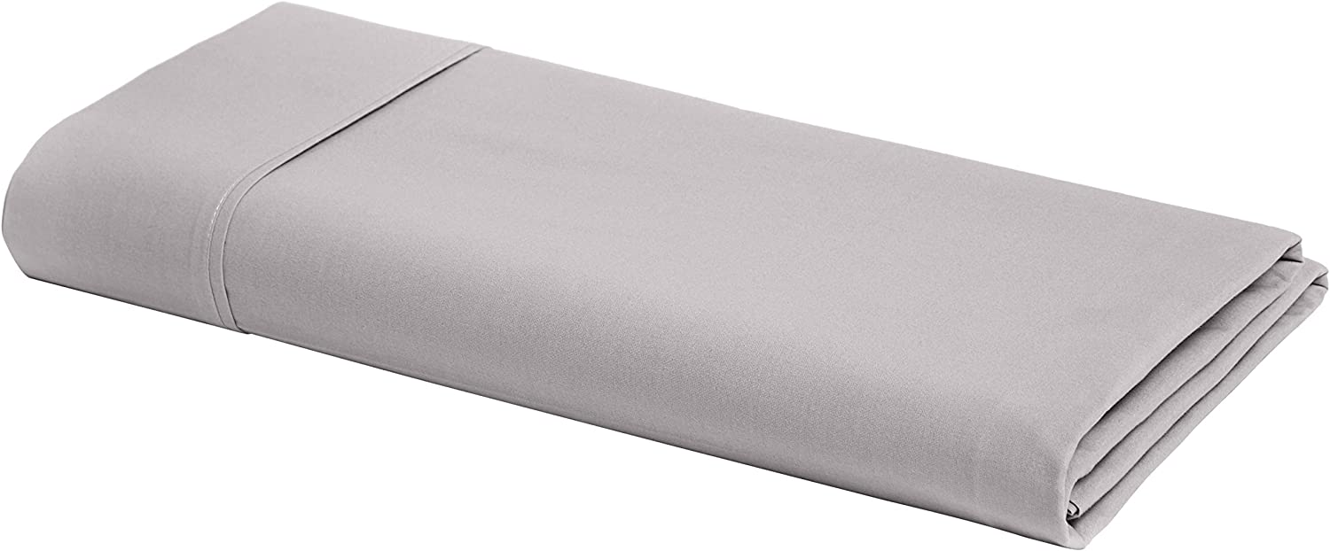AmazonBasics Ultra-Soft Cotton Flat Bed Sheet, Breathable, Easy to Wash, Queen, Graphite Grey
