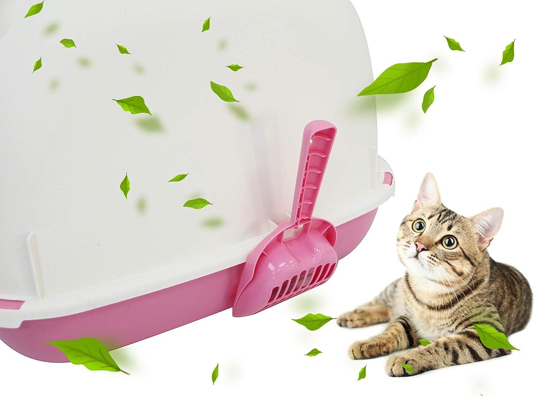 L: 55 * 42 * 43 cm, Rosa BPS-5707RS BPS Aseo Cerrado para Gato Arenero Sanitaria Bandeja Arena para Mascotas con Pala y Una Bolsa para Bandja 4 Colores Tama/ños M//L