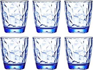 10 Oz 6-Piece Premium Unbreakable Drinking Glasses Plastic Tumblers Dishwasher Safe BPA Free Small Acrylic Juice Glasses for Kids Plastic Water Glasses (Blue)