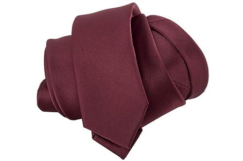 LUCIO LAMBERTI Corbata hombre mujer slim corbata burdeos color ...