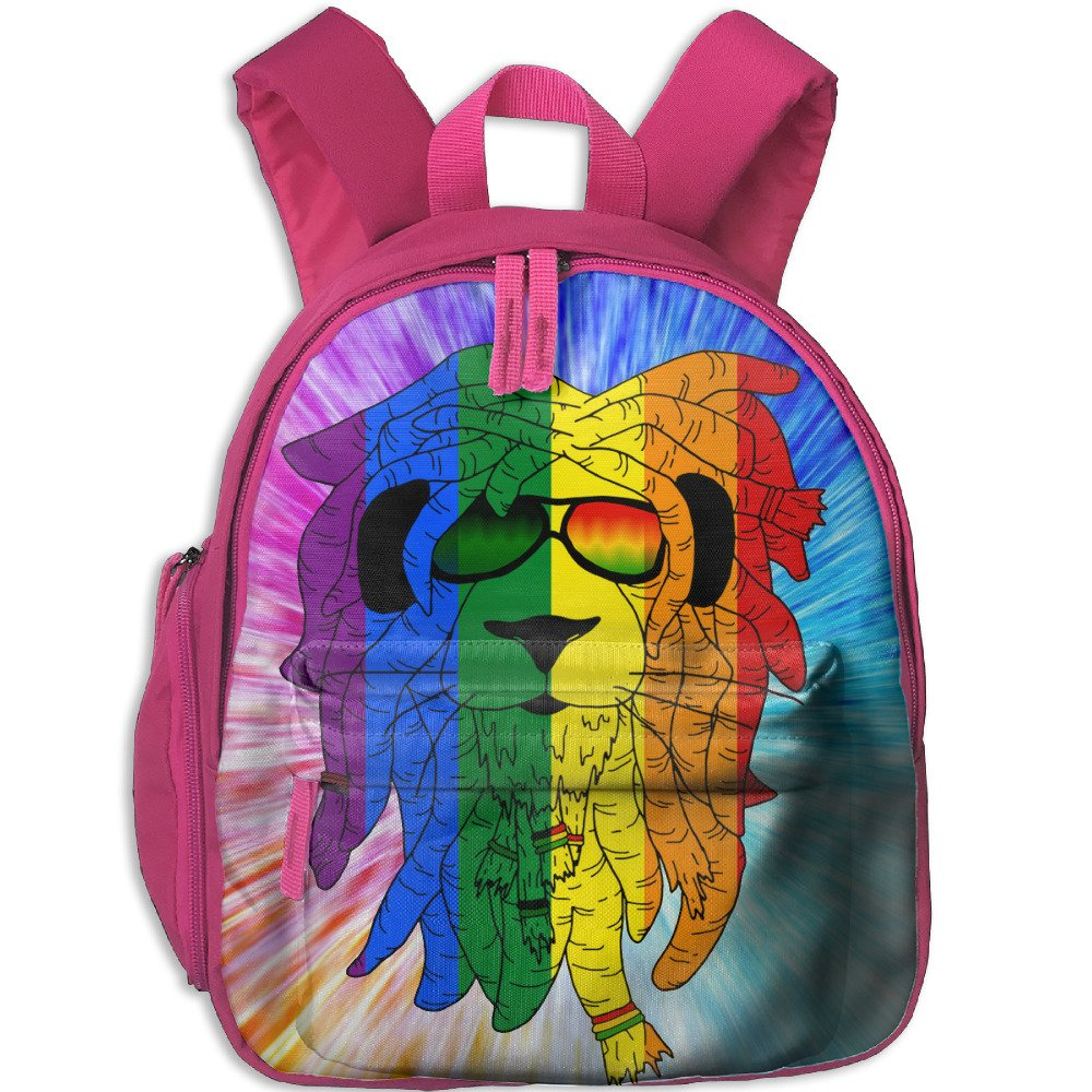 Rasta Lion Glasses Children Casual Lightweight Canvas Backpacks School Rucksack Travel Backpack. by Papare