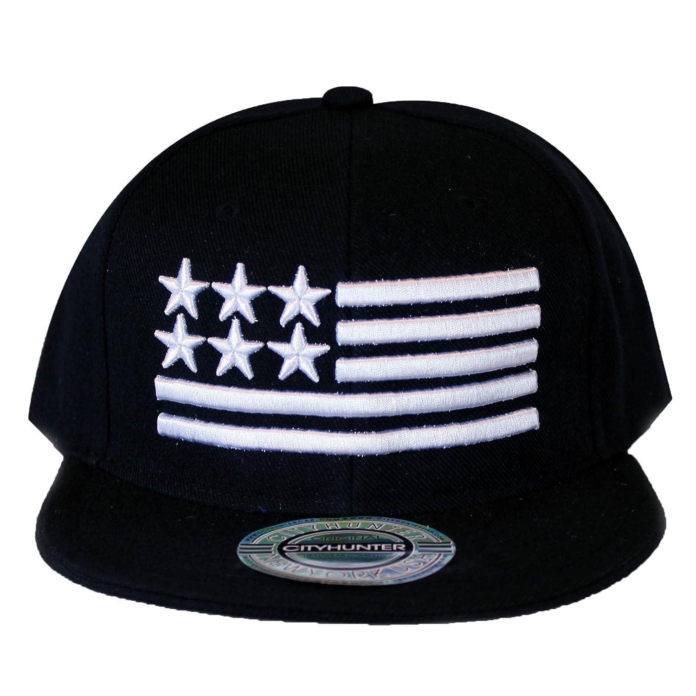 6dd0765a9ea1c City Hunter Cf919t Big U.s.a Flag Snapback Cap - Black at Amazon ...