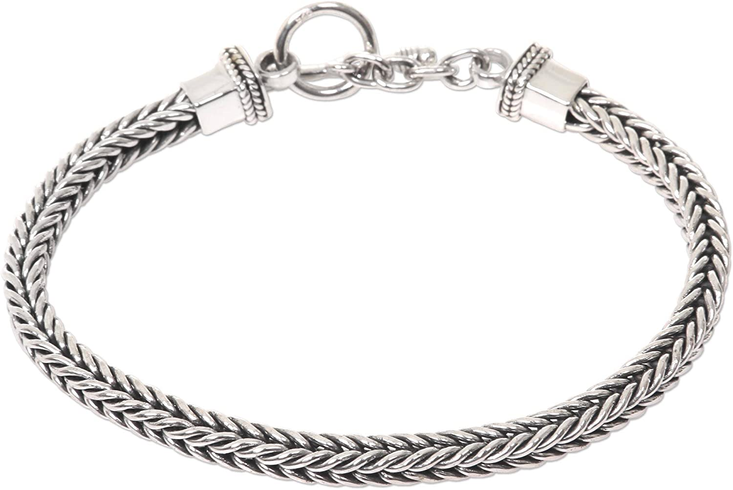 "NOVICA .925 Sterling Silver Men's Chain Bracelet, 8""with Toggle Clasp, Dragon Braid'"