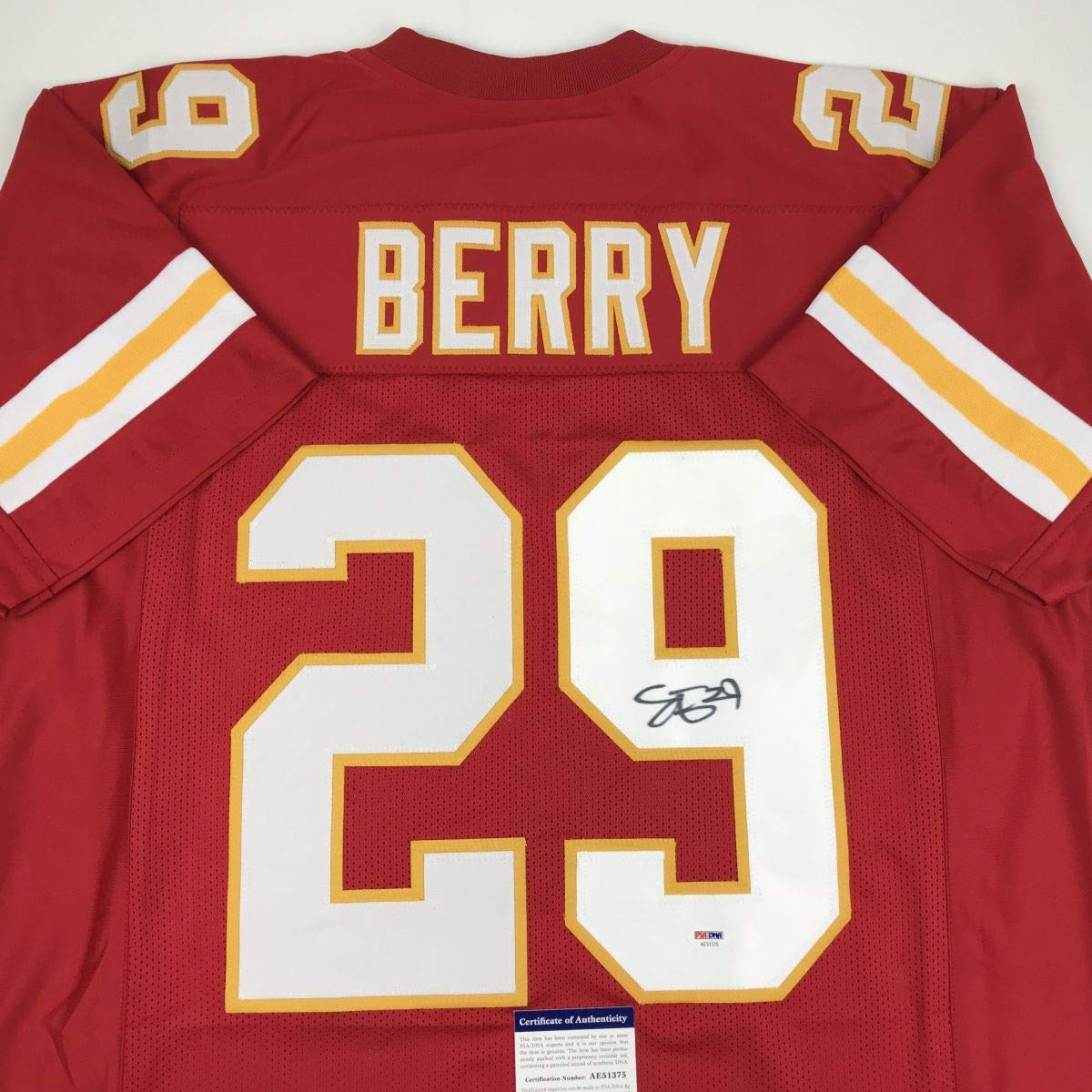 Autographed/Signed Eric Berry Kansas City Red Football Jersey PSA/DNA COA