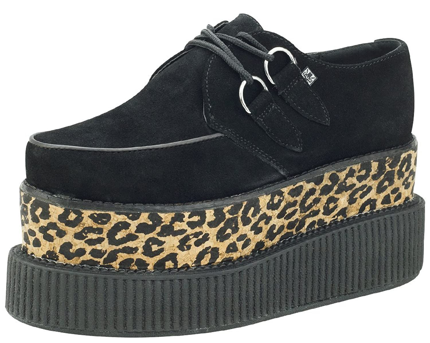 T.U.K. Shoes Black Suede & Leopard Cork Double Stacked Mondo Viva Creeper  EU41 / UKW8 UKM7: Amazon.co.uk: Shoes & Bags