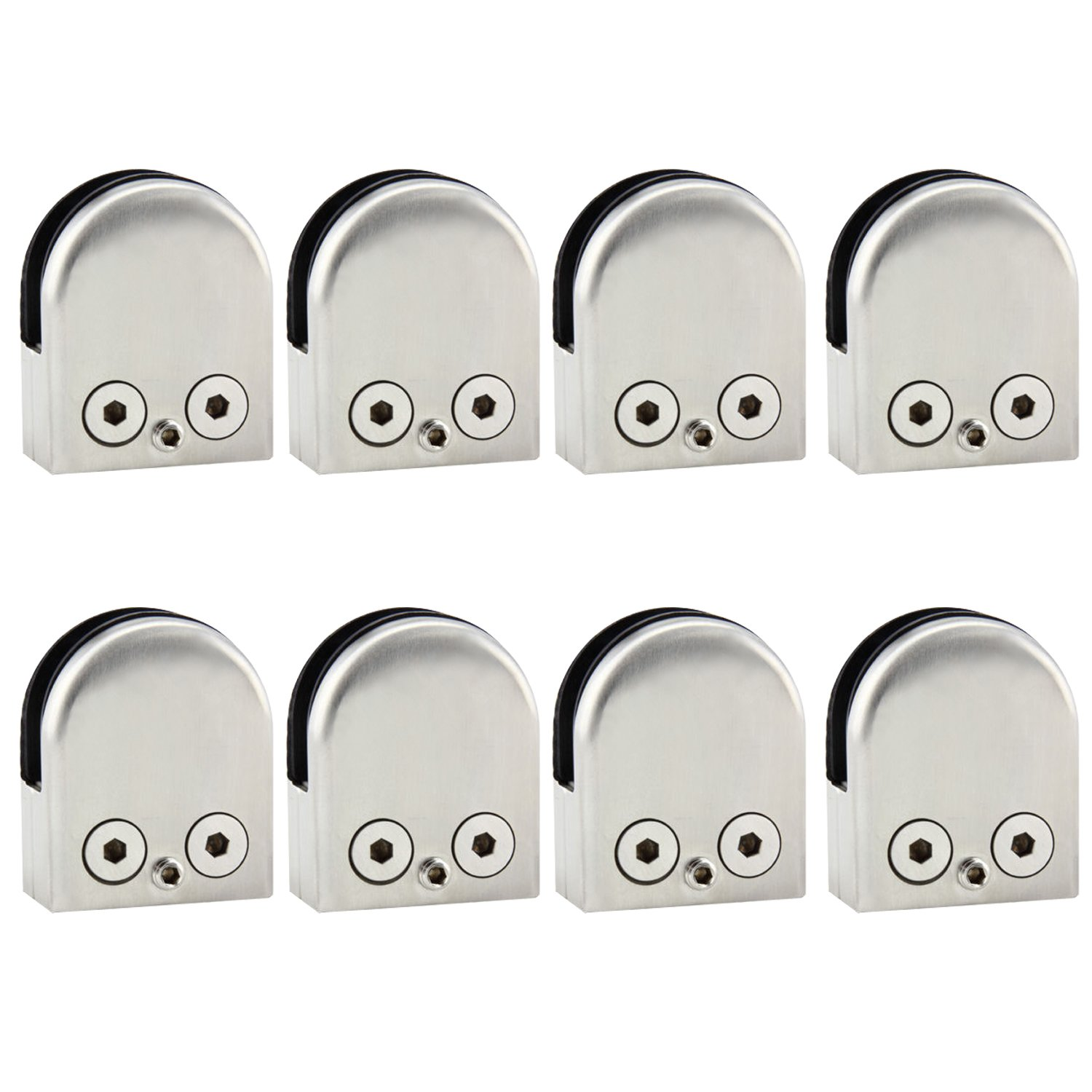 Discoball 8 Pack 304 Stainless Steel 6-8mm Glass Clamp Clip for Window Balustrade Stair Handrail-Upgraded
