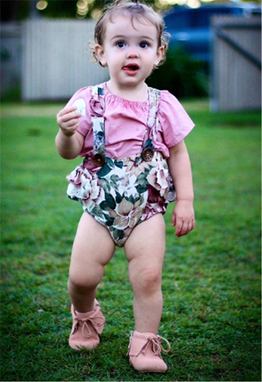 Baby Girl Clothes Romper Bodysuit Top+Floral Shorts Overalls 2pcs Short Sets