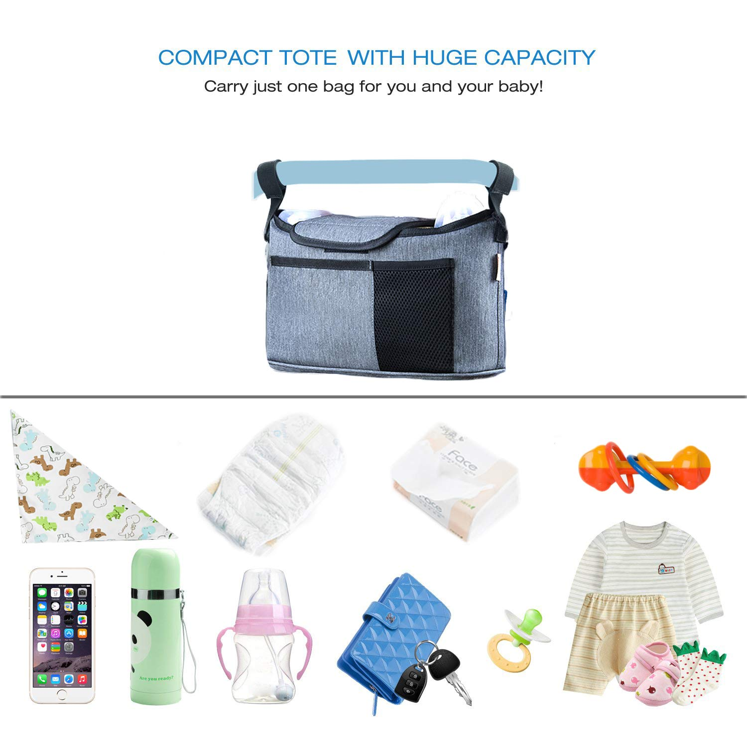ThxMadam Stroller Accessories Organizer Bag with 2 Cup Holders,Multiple Pockand Phone Pocket Deep for Diapers Phones Wallets,Toys