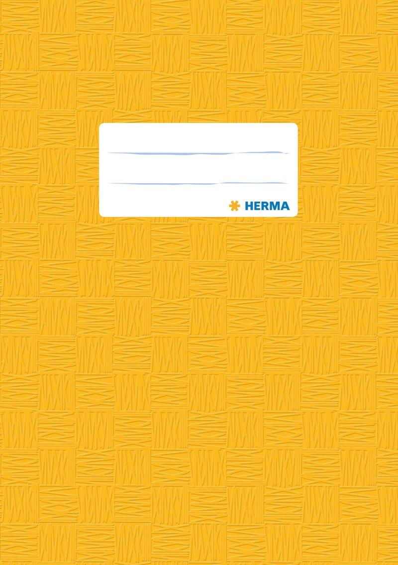 1 Heftschoner f/ür Schulhefte Herma 7429 Heftumschlag DIN A5 schwarz gedeckt mit Baststruktur Kunststoff