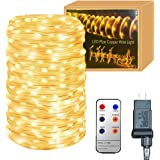33Feet 136 LED Rope Lights with Remote,8 Lighting Modes/Timer Dimmable  Waterproof Rope Lighting for Outdoor Patio Gardens Parties Pool Christmas Xmas Halloween Home Decoration
