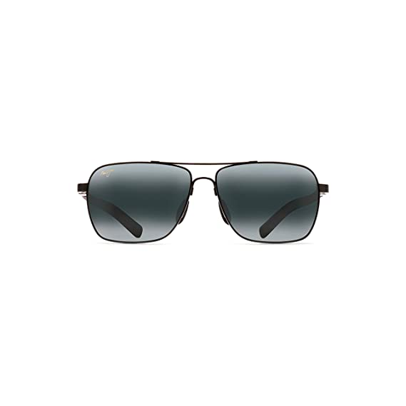 d841fa1f022e Maui Jim 326-02 Gloss Black Freight Trains Square Aviator Sunglasses ...