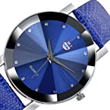 Wensltd Men's Classy Stainless Steel Quartz Military Sport Leather Band Dial Wrist Watch (Blue)
