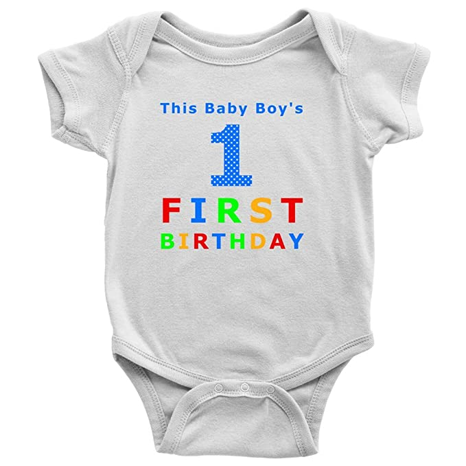 Baby Boy 1st Birthday Outfit My First Onesie By Mugs Tees More