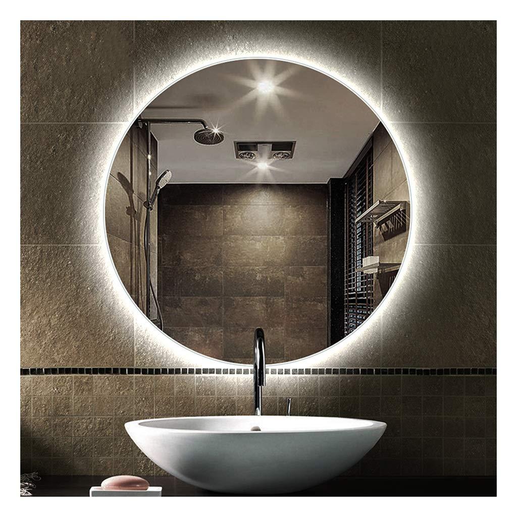 ZfgG Bathroom Mirror Backlit Mirror Frameless Lamp Mirror Anti-Fog Mirror with Light (Color : White Light, Size : 60cm)