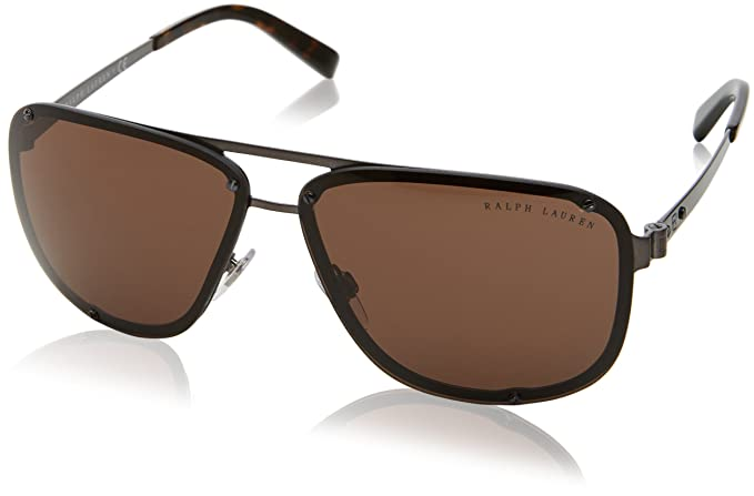 0edff00ac4f2 Ralph Lauren Men's 0RL7055 915773 64 Sunglasses, Dark Brushed  Gunmetal/Brown,