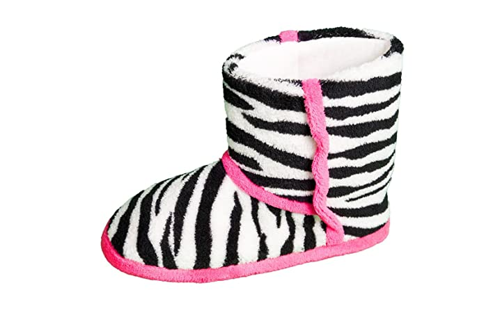 5141a2c4991 Ladies Womens Slipper Boots Animal Leopard Zebra Print Comfy Bootie ...
