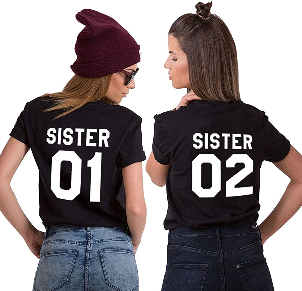 Mejores Amigas Camiseta Best Friend T-Shirt 2 Piezas 100% Algodón Impresión Sister 01 02 Camisa Hermana Manga Corta Para Mujer