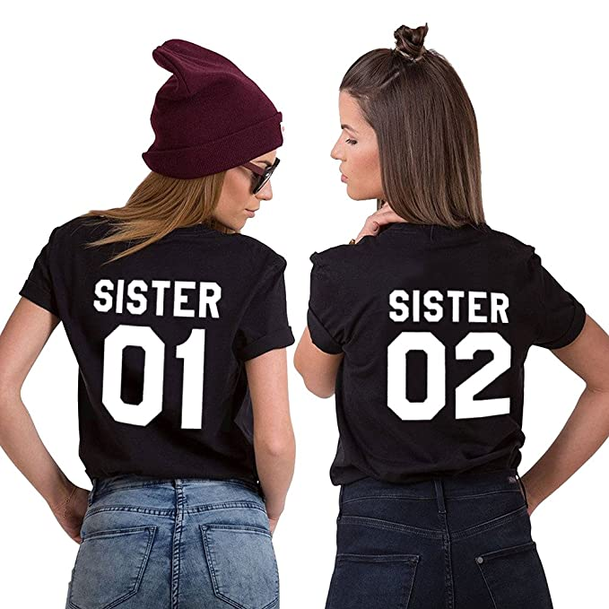 Sister 01 02 T Shirt Best Friends Shirts Cotton Two Girls Letter Printed Shirt Matching Tees