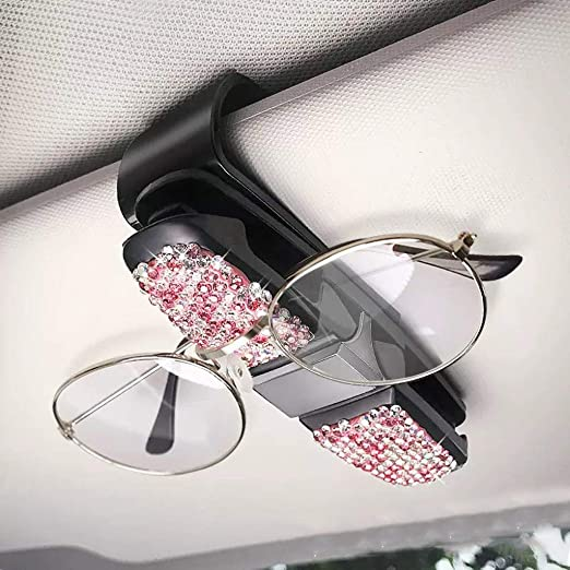 Glasses Holder for Car Sun Visor 2 Pack Sunglasses Holder Clip Hanger Eyeglasses Mount for Car Double-Ends Clip and 180/° Rotational Car Glasses Holder with Ticket Card Clip