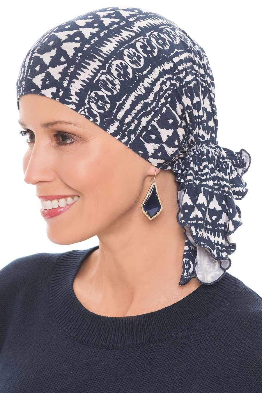 Slip-On Solid Slinky Pre Tied Head Scarf - Scarves for Women with Chemo Luxury Bamboo - Navy Batik