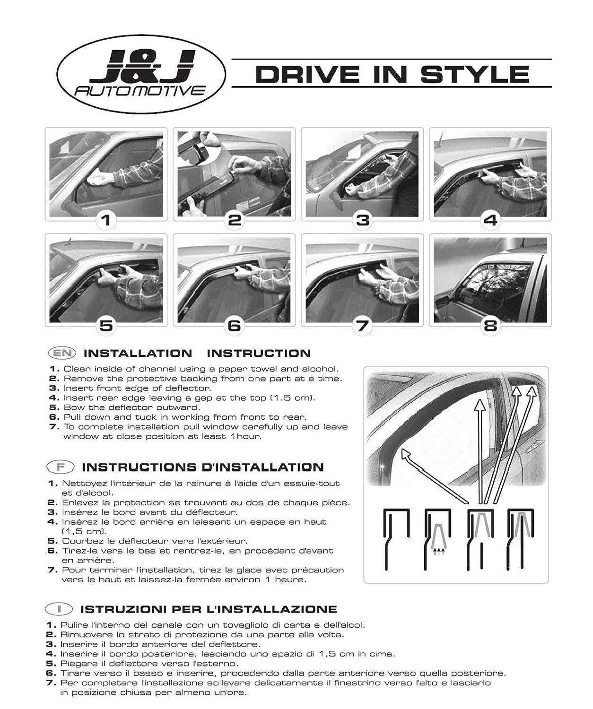 Deflecteurs dair d/éflecteurs de Vent Compatible avec Civic VIII 5 Portes 2006-2012 HTB 2 pi/èces J/&J AUTOMOTIVE
