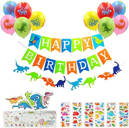 DINOSAUR  PERSONALISED BIRTHDAY BANNERS PACK OF TWO