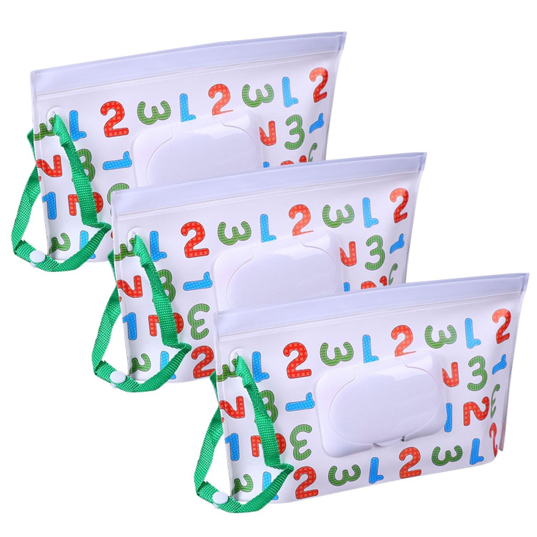 Wipe Cases, 3PCS Portable Reusable Refillable Wet Wipe Bag Dispenser Box for Baby Travel Outside Random Style Migavan