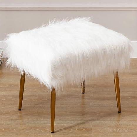 Plush Stool Pouffe Shaggy Faux Fur Foot Metal Legs Dressing Table Vanity Chair
