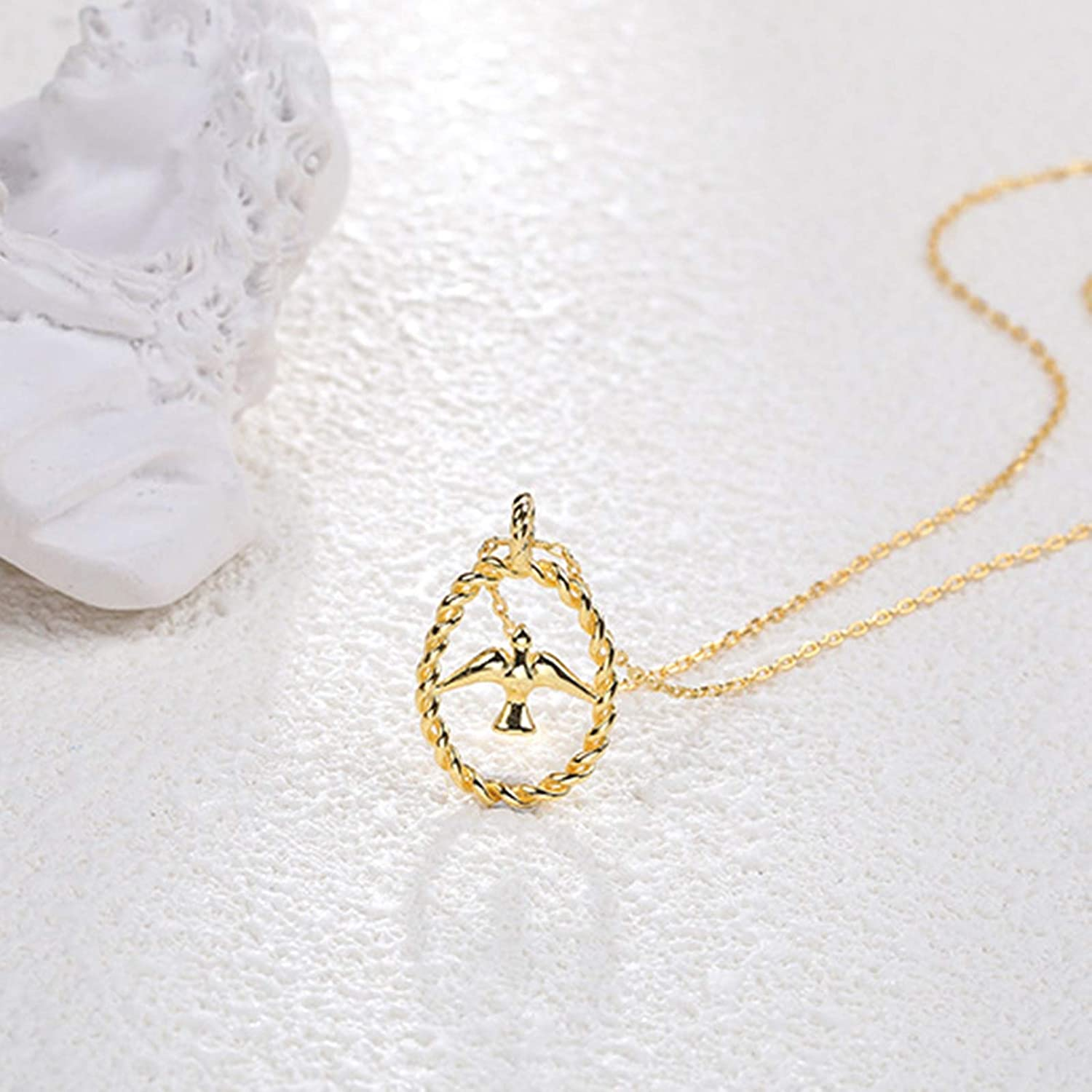 Daesar 925 Sterling Silver Necklace for Women Necklace Swallow Necklace Gold