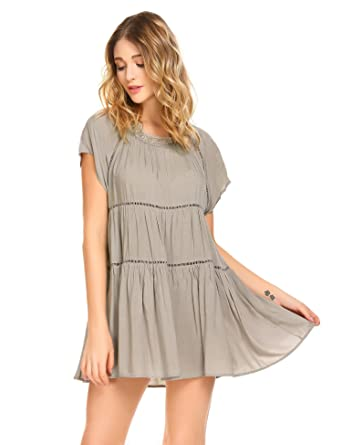 05d90362c2 ADOME Women Cotton Nightdress Ruffle Short Sleeve Nightgown Round Neck  Casual Loose Sleepwear  Amazon.co.uk  Clothing