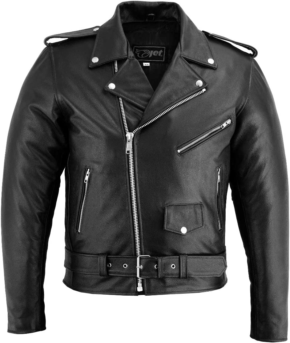 JET Chaqueta Moto Cuero Hombre con Protecciones Vintage Clasico Iconico Retro BRANDO (Negro liso, L)