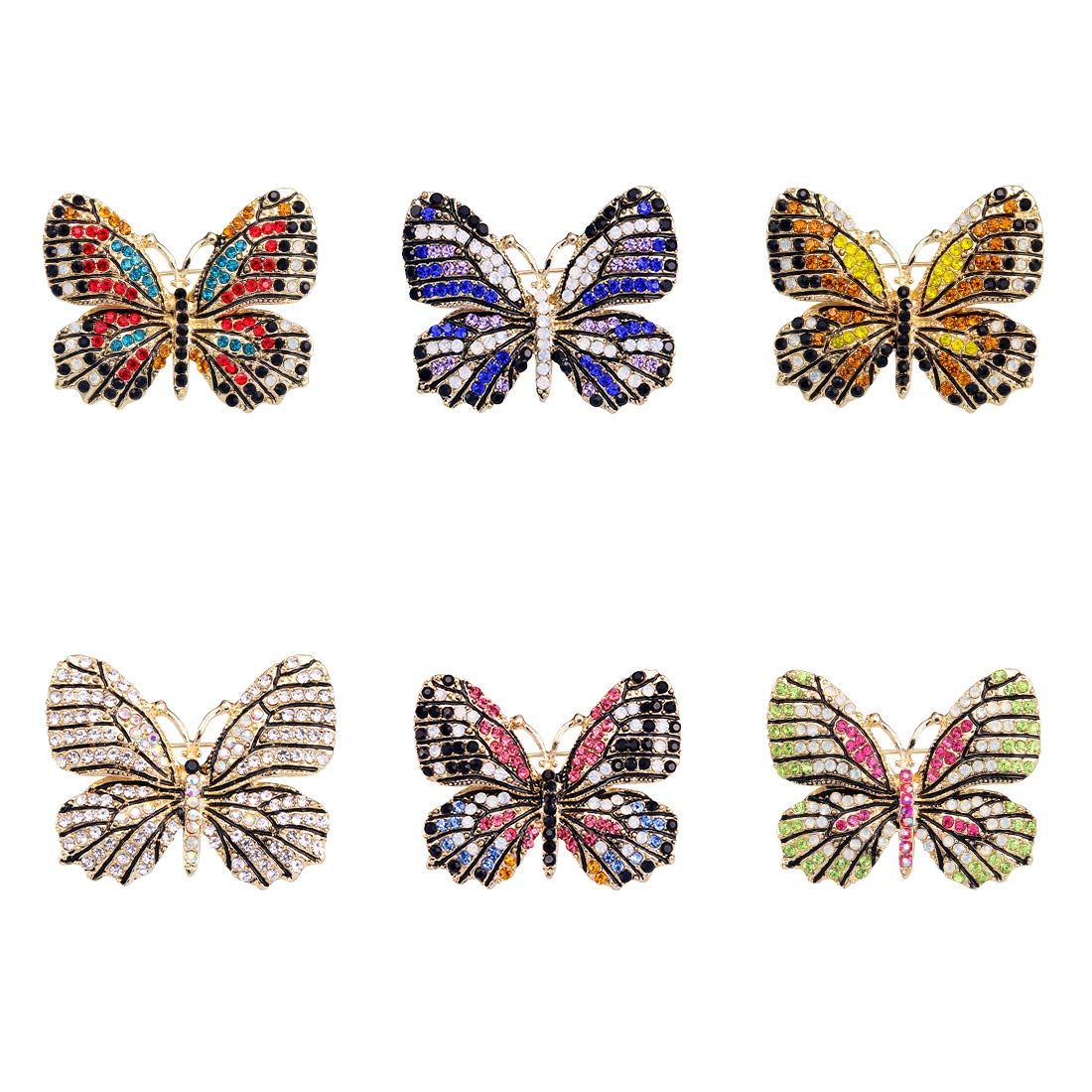 WeimanJewelry Lot6pcs Multicolor Rhinestone Crystal Butterfly Brooch Pin Set for Women by WeimanJewelry (Image #1)