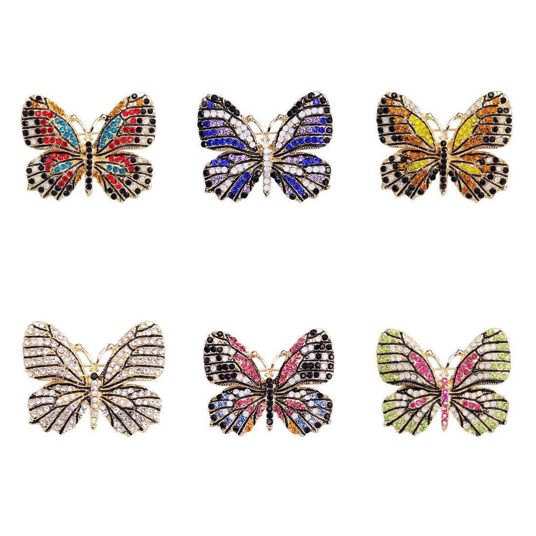 WeimanJewelry Lot6pcs Multicolor Rhinestone Crystal Butterfly Brooch Pin Set for Women
