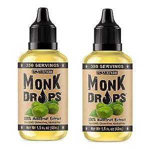 Monk Drops - 100% Monkfruit Liquid Sweetener, Zero Glycemic, Zero Calories, Zero Sugar, No Added Water, Concentrated Monk Fruit (2 Pack)