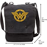 Grab A Smile Wonder Woman Logo Canvas Crossbody Travel Map Bag Case
