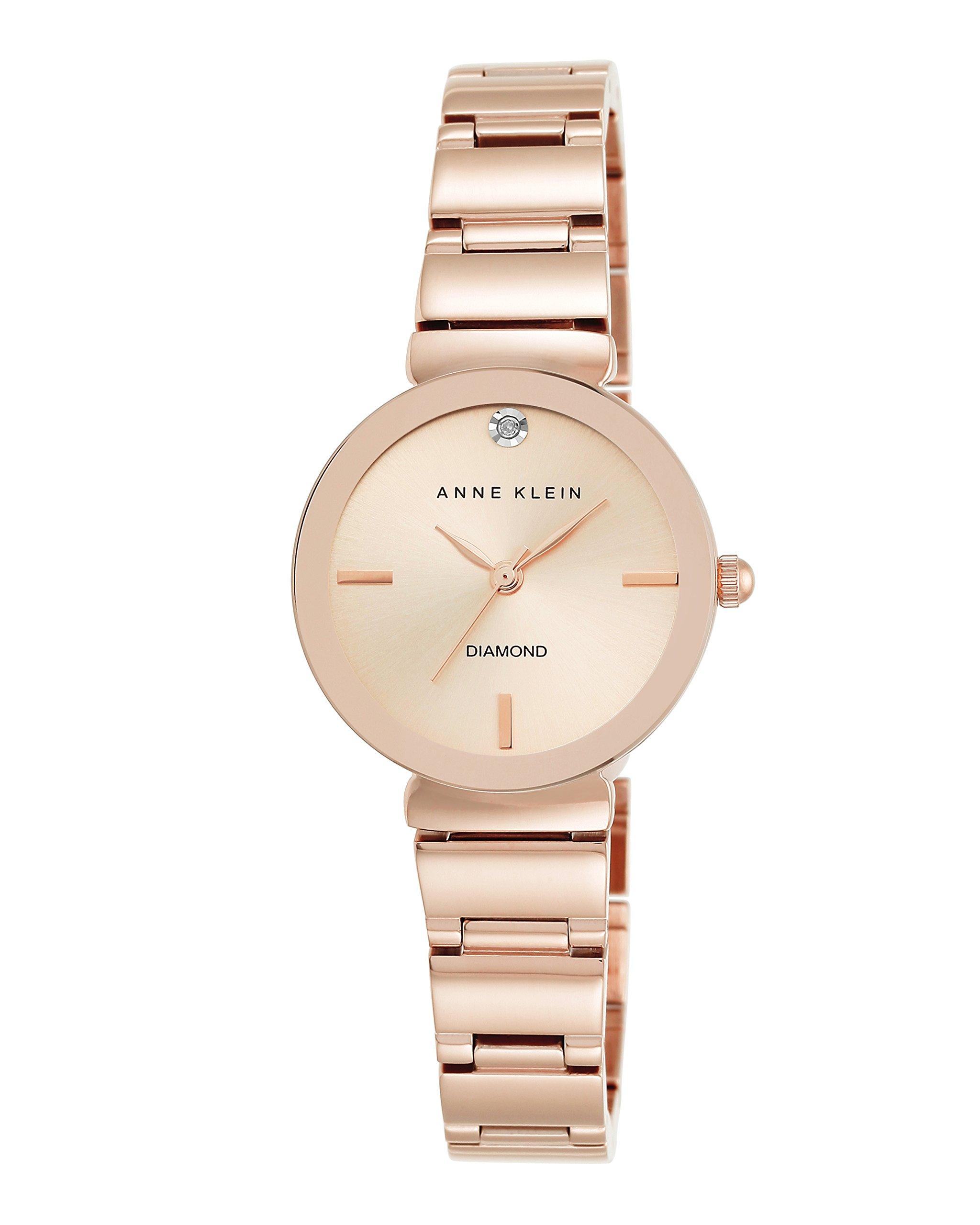 Anne Klein Women's AK/2434RGRG Diamond-Accented Rose Gold-Tone Bracelet Watch by Anne Klein