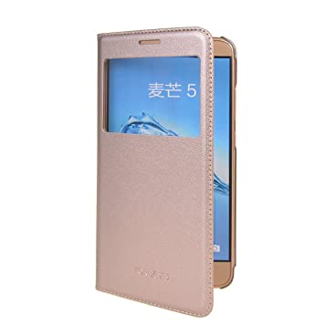 Huawei Nova Plus Funda,COOLKE Diseño de ventana Flip Funda Con Soporte Plegable Carcasa Funda Tapa Case Cover para Huawei Nova Plus - Oro