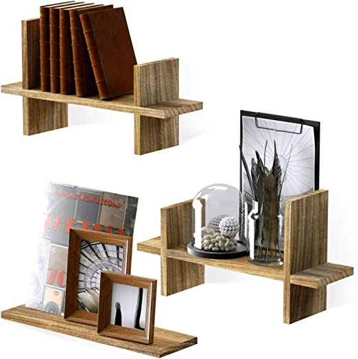 Sriwatana Rustic Wood Floating Shelves Tiered Style Wall Shelves Wall Mounted For Bedroom Living Room Study Room