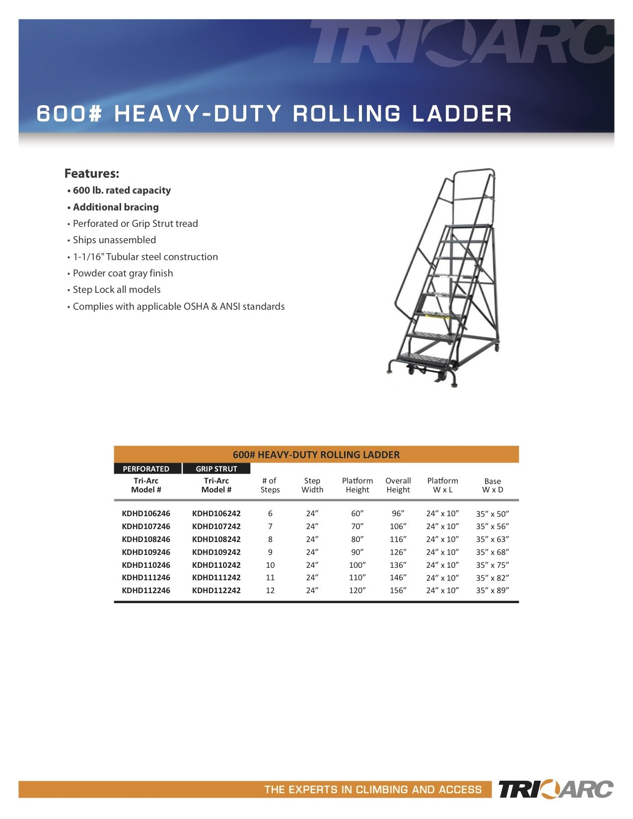 Tri-Arc KDHD108242 8-Step Heavy-Duty Steel Rolling Industrial & Warehouse Ladder with Grip Strut Tread