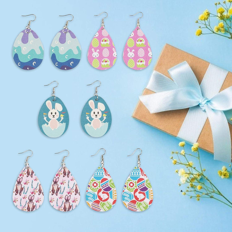 BAMZOK 10 paires Boucle dOreille en Faux Cuir pour P/âques Boucles Oreille en Lapin Oeuf de Paques Fait de PU Pendantes Imprim/é Fleurs Oeufs Bunny