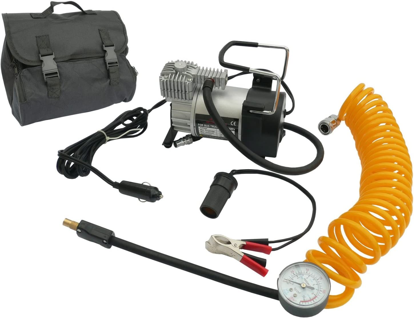 Fifth Gear/® Heavy-Duty Car Tyre Air Compressor Inflator 12V 150psi 3m Power Cord 5m Hose New