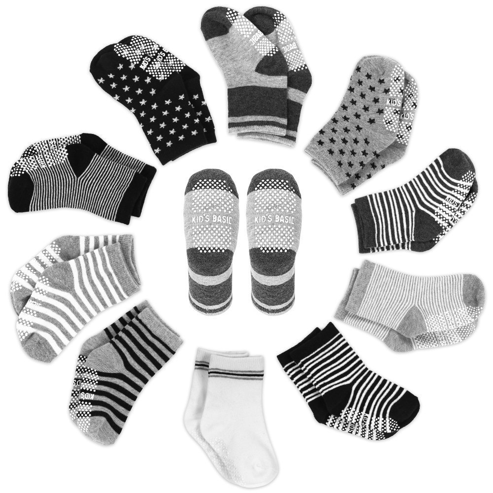 YOHOOLYO Baby Socks 10 Pairs Assorted Non Skid Cotton Socks 16-36 Months Walker Boys Girls Toddler Anti Slip Stretch Knit Stripes Star Sneakers Crew Socks Smile&Satisfaction Style 10 Pair Boy