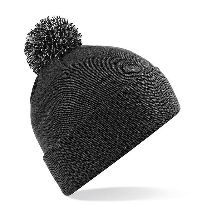 1dab8f7a221 Beechfield B450 Snowstar Duo Beanie Hat Black Graphite Grey  Amazon ...